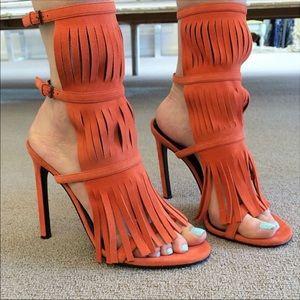 Gucci Becky Suede Fringe High Heel Sandal